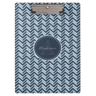 Cool Blue Chevron Pattern Monogram Clipboards