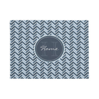 Cool Blue Chevron Pattern Monogram Doormat