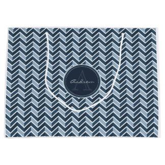 Cool Blue Chevron Pattern Monogram Large Gift Bag