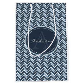 Cool Blue Chevron Pattern Monogram Medium Gift Bag