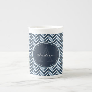 Cool Blue Chevron Pattern Monogram Tea Cup