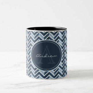 Cool Blue Chevron Pattern Monogram Two-Tone Coffee Mug
