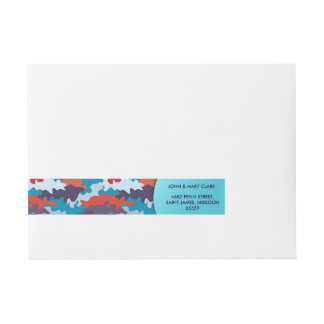 Cool blue color style camouflage pattern wraparound address label
