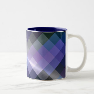 Cool Blue Diamond Chevron Pattern Two-Tone Coffee Mug