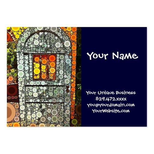 Cool Blue Door Southwestern Courtyard Wooden Door Business Card Template