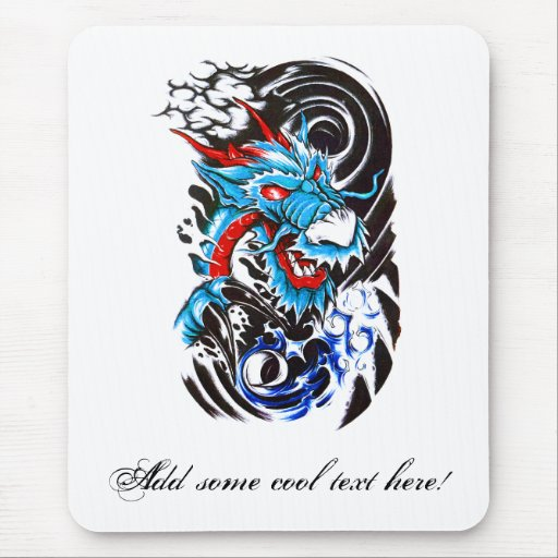 Cool Blue Dragon tattoo Mousepads