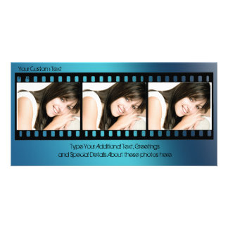 Cool Blue Filmstrip Photo Card, All-Occasion Card