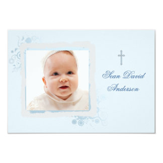 Cool Blue Flat Photo Thank You 9 Cm X 13 Cm Invitation Card