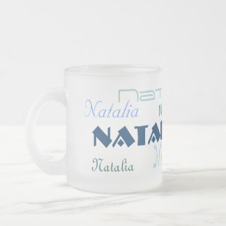 Cool Blue Fonts Your Name Personalized Frosted Glass Mug