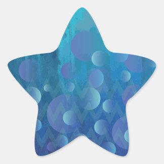 Cool Blue Funky Geometric Grunge Pattern Star Stickers