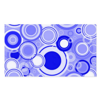 Cool Blue Funky Retro Circles Pattern Business Cards