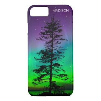 Cool Blue Galaxy Stars Redwood Tree Aurora iPhone 7 Case