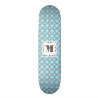 Cool Blue & Gray Checkers w/Monogram Skateboard Deck