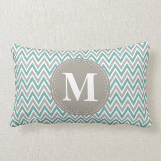 Cool Blue Gray Chevron Pattern Monogram Lumbar Cushion