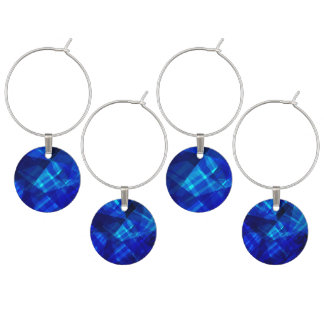 Cool Blue Ice Geometric Pattern Wine Charms