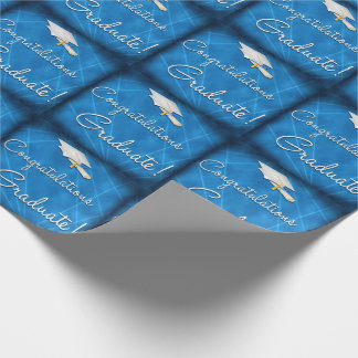 Cool Blue Lazer Light Graduation Wrapping Paper