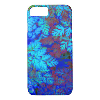 Cool Blue Leafy Plant Botanical Digital Photo iPhone 8/7 Case