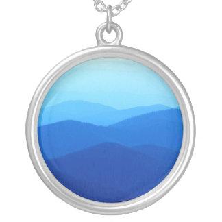 cool blue mountain ridges round pendant necklace