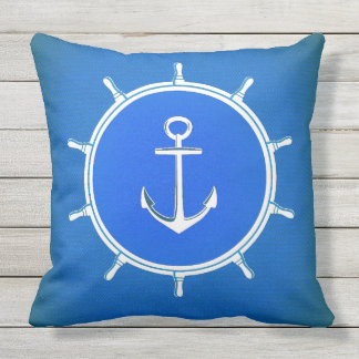 Cool blue Nautical Anchor and Ship wheel Outdoor Cushion