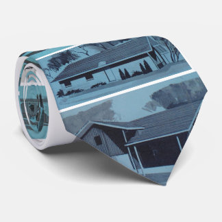 Cool Blue Novelty Retro Modern Houses Tie