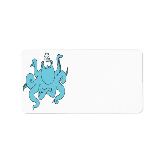 cool blue octopus cartoon character address label
