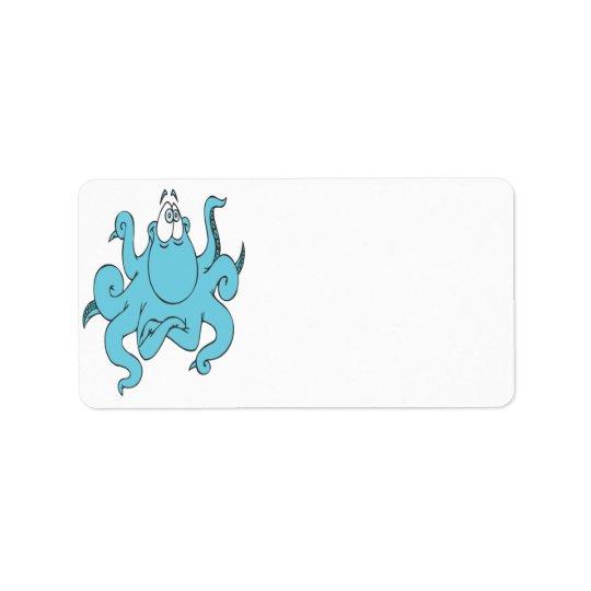 cool blue octopus cartoon character label