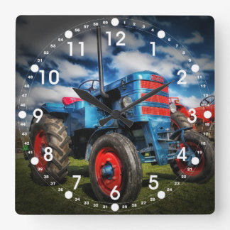 Cool Blue Red Antique Tractor Gifts for Farmers Clock