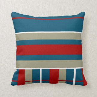 Cool Blue Red Tan White Striped Pattern Nautical Cushion