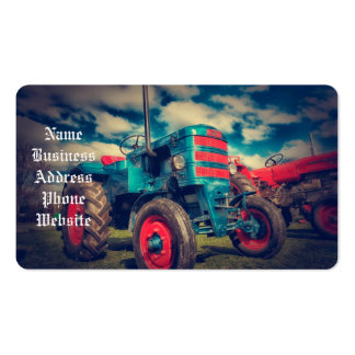 Cool Blue Red Vintage Tractor Pack Of Standard Business Cards