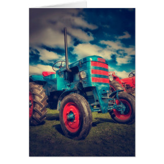 Cool Blue Red Vintage Tractor Stationery Note Card