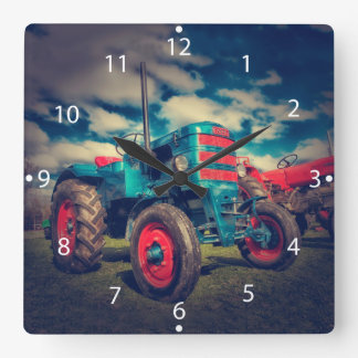 Cool Blue Red Vintage Tractor Square Wall Clocks
