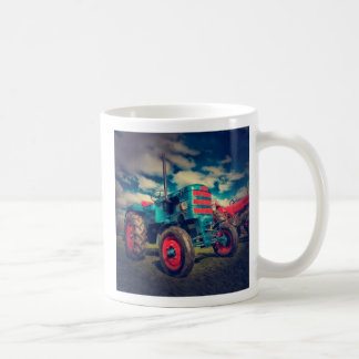 Cool Blue Red Vintage Tractor Classic White Coffee Mug