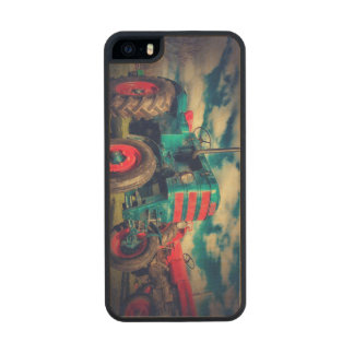 Cool Blue Red Vintage Tractor Carved® Maple iPhone 5 Slim Case