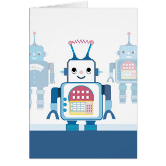 Cool Blue Robot Gifts Novelties Greeting Card