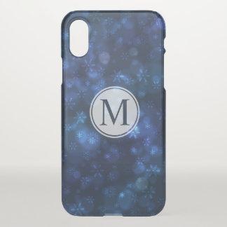 Cool Blue Snowflakes Monogram | iPhone X Case