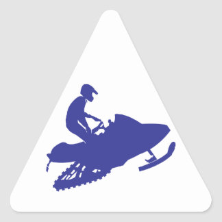 Cool Blue Snowmobiler Triangle Sticker