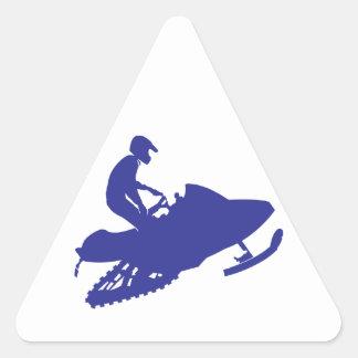 Cool Blue Snowmobiler Triangle Sticker