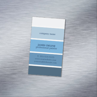 Cool Blue Striped Professional Painter Magnetic Business Cards (Pack Of 25)