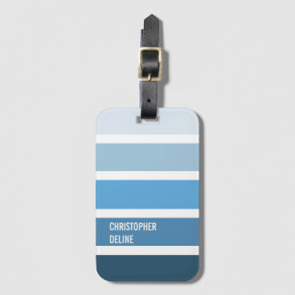 Cool Blue Stripes Luggage Tag