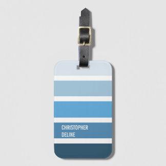 Cool Blue Stripes Luggage Tag