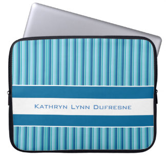 Cool Blue Stripes w/Personalization Laptop Sleeve