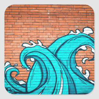 Cool Blue Waves Mural Wall Graffiti Square Sticker