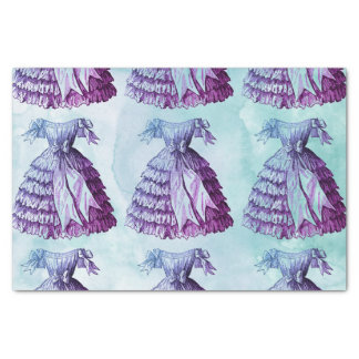 Cool Blues Watercolor Vintage Dress Repeat Tissue Paper