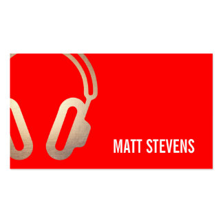 Cool Bold DJ Gold Headphones Red Music Pack Of Standard Business Cards