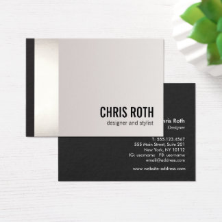 Cool Bold Modern Black and Silver Stripe Square Business Card