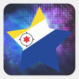 Cool Bonaire Flag Star Square Sticker
