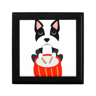 Cool Boston Terrier Dog Playing Drums Gift Box