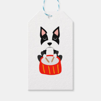 Cool Boston Terrier Dog Playing Drums Gift Tags
