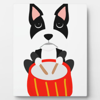 Cool Boston Terrier Dog Playing Drums Plaque