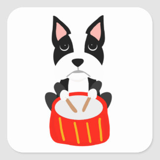 Cool Boston Terrier Dog Playing Drums Square Sticker